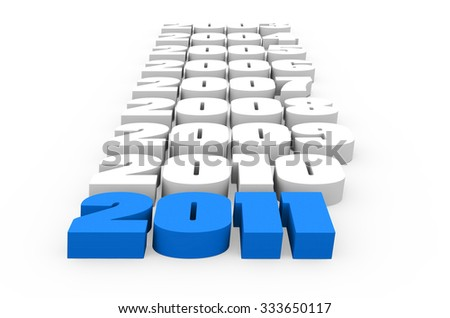 3d render New Year 2011 and past years on a white background. - stock photo