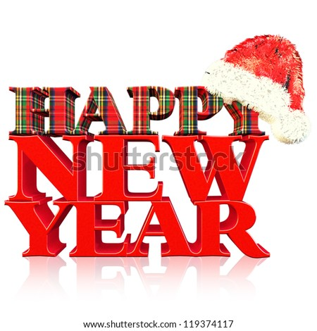 3D render NEW YEAR Text with SANTA HAT and GIFT PACK textured in White BG - stock photo