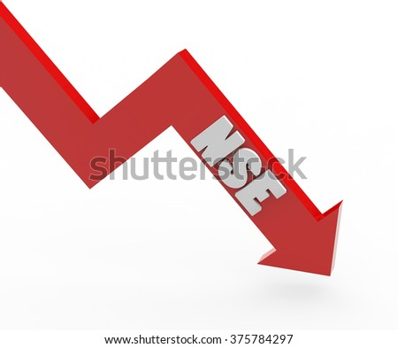 3d render NSE stock market index in a red arrow on a white background.  - stock photo