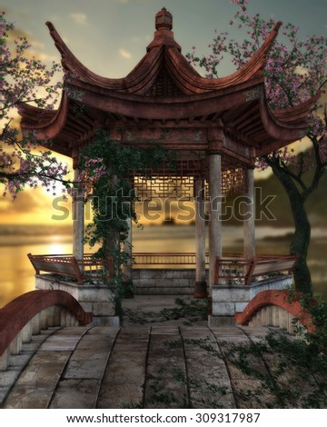 3D render of a beautiful Japanese pagoda overlooking the ocean during a lovely sunset afternoon.  Cherry tree's in full blossom stand on each side with green vines crawling up the posts.  - stock photo