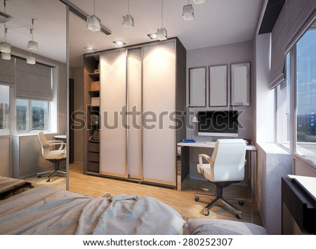 3D render of a bedroom for sibling - stock photo