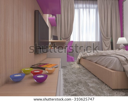 3D render of a bedroom for the young girl - stock photo