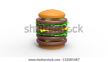 3d render of a Big Hamburger - stock photo