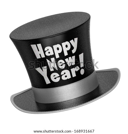 3D render of a black Happy New Year top hat with shiny metallic flakes style surface - isolated on white background - stock photo