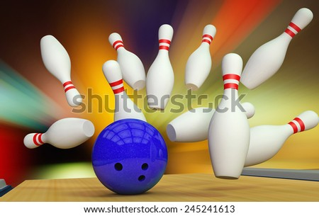 3d render of a bowling ball crashing into the pins  - stock photo