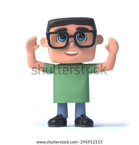 3d render of a boy in glasses with his arms raised in the air - stock photo