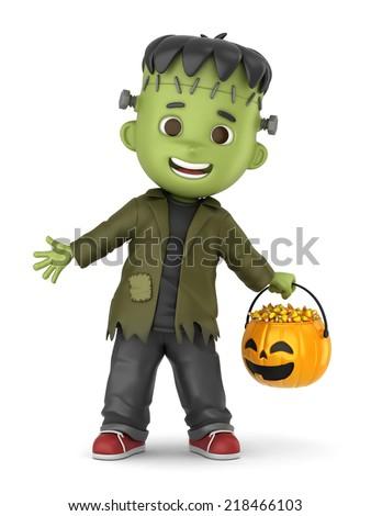 3D render of a boy wearing Halloween Frankenstein costume - stock photo