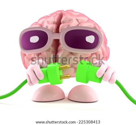 3d render of a brain character connecting two green power leads - stock photo