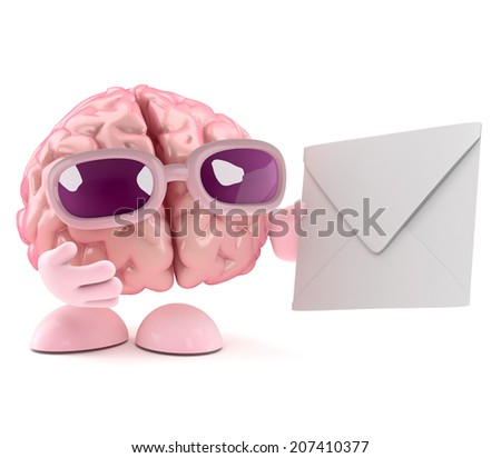 3d render of a brain character holding an envelope - stock photo