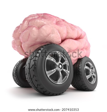 3d render of a brain character on wheels - stock photo