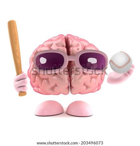 3d render of a brain holding a baseball bat and ball - stock photo