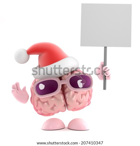 3d render of a brain wearing a Santa Claus hat and holding a placard - stock photo