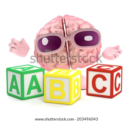 3d render of a brain with wooden alphabet blocks - stock photo