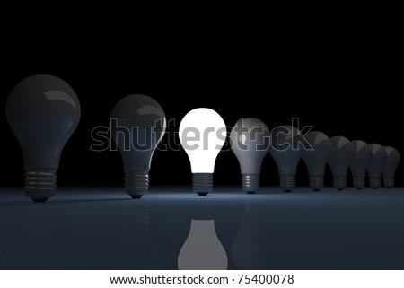 3d render of a bright lit light bulb - stock photo
