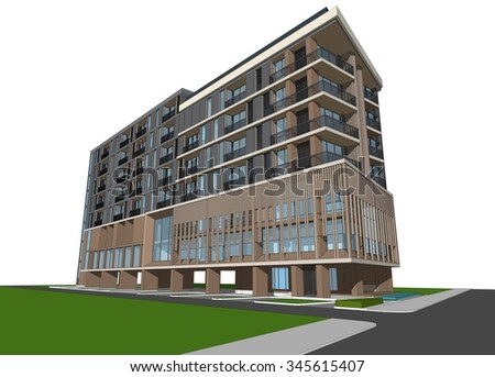 3D render of a building, isolated on white. - stock photo