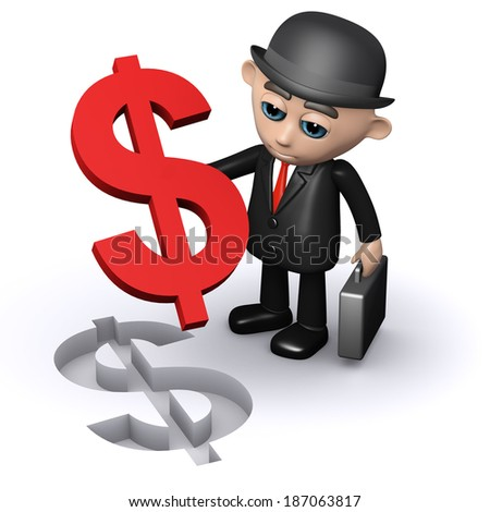 3d render of a businessman with a dollar shaped jigsaw piece - stock photo