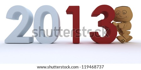 3D render of a Cardboard Box figure bringing in the new year - stock photo