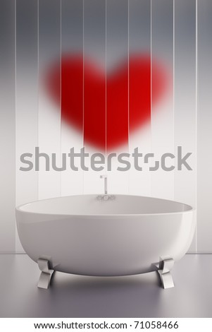 3d render of a ceramic bath tab and a red heart wall - stock photo
