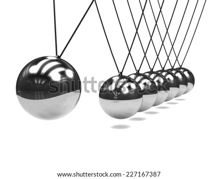 3d render of a chrome Newtons Cradle in action - stock photo