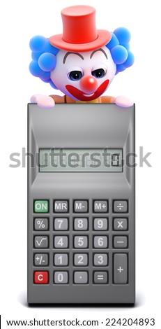 3d render of a clown looking over a calculator - stock photo