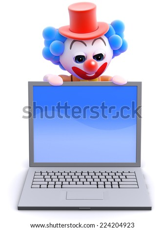 3d render of a clown looking over the top of a laptop pc - stock photo