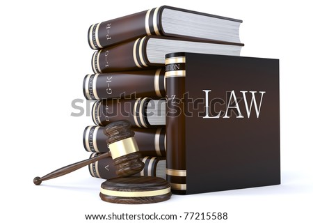 3d render of a collection of law books and gavel - stock photo