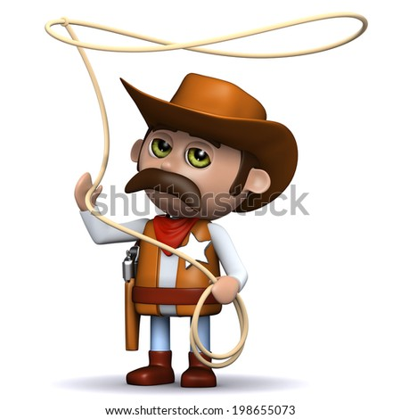 3d render of a cowboy sheriff twirling a lasso - stock photo