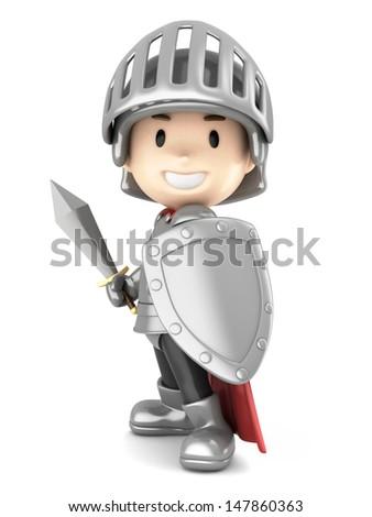 3d render of a cute knight boy - stock photo