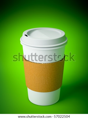 3D render of a disposable coffee cup on green background - stock photo