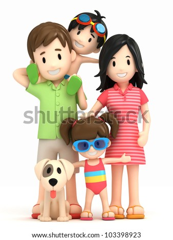 3d render of a family - stock photo