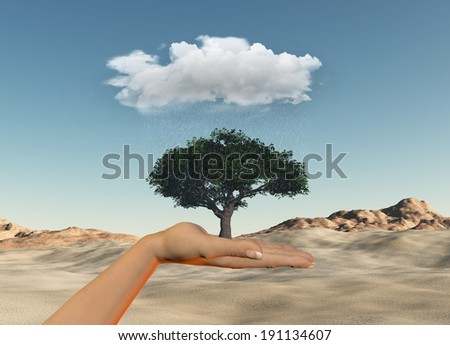 3D render of a female hand holding a tree under a rainy cloud against a desert background - stock photo