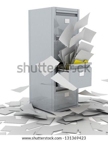 3D Render of a Filing Cabinet - stock photo