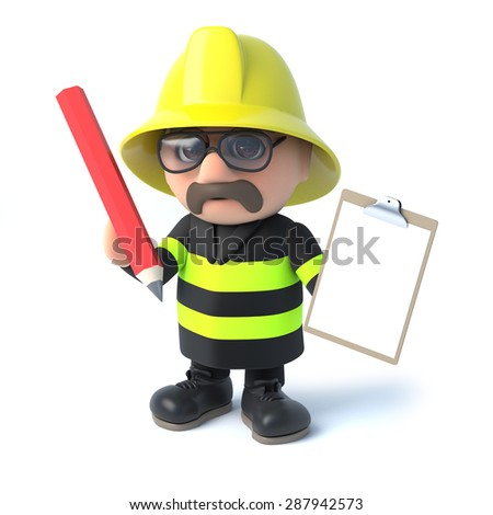 3d render of a fireman holding a clipboard and pencil. - stock photo