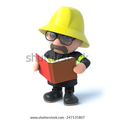 3d render of a fireman reading a book. - stock photo