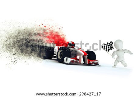 3D render of a generic racing car at the finishing line with speed special effect - stock photo