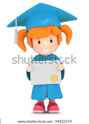 3D render of a girl showing certificate - stock photo