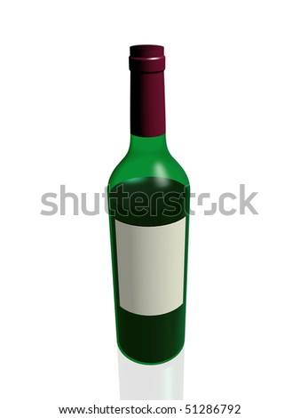 3d render of a glass wine bottle over white - stock photo