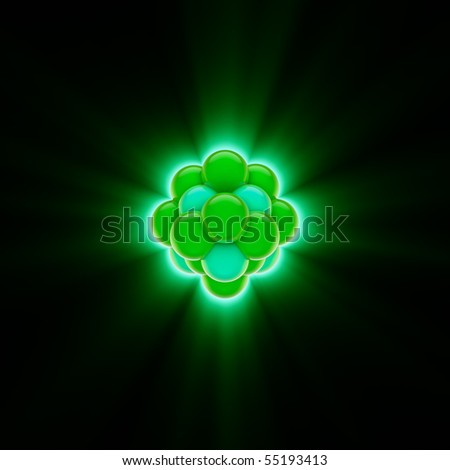 3d render of a glowing green nucleus - stock photo
