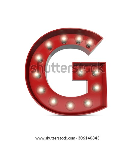 3D render of a glowing letter G broadway theatre style - stock photo