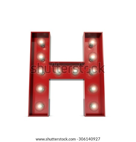 3D render of a glowing letter H broadway theatre style - stock photo