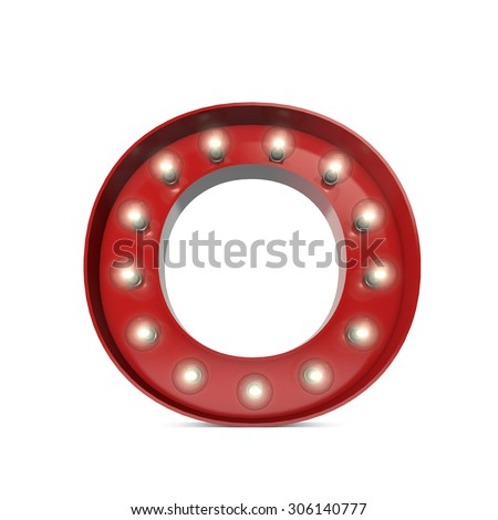 3D render of a glowing letter O broadway theatre style - stock photo