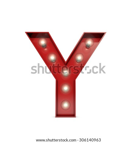 3D render of a glowing letter Y broadway theatre style - stock photo
