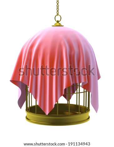 3d render of a gold birdcage with red cloth draped over - stock photo