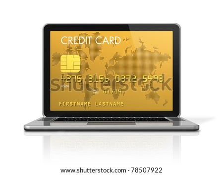 3D render of a gold credit card on a laptop screen- isolated on white with 2 clipping paths : one for global scene and one for the screen - stock photo