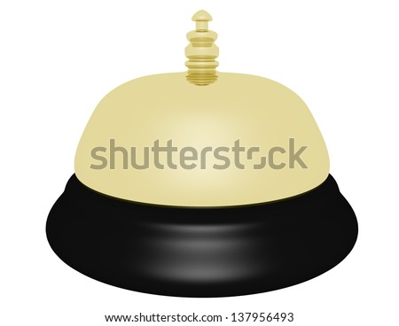 3d Render of a Gold Hotel Bell - stock photo
