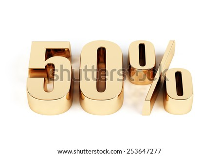 3d render of a gold 50 percent - stock photo