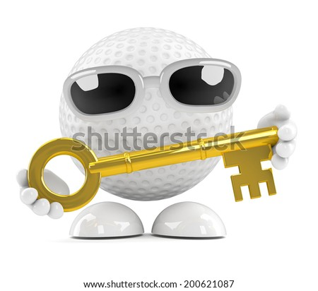 3d render of a golf ball holding a gold key - stock photo