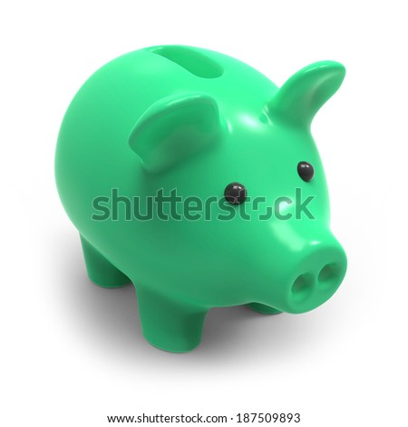 3d render of a green piggy bank - stock photo