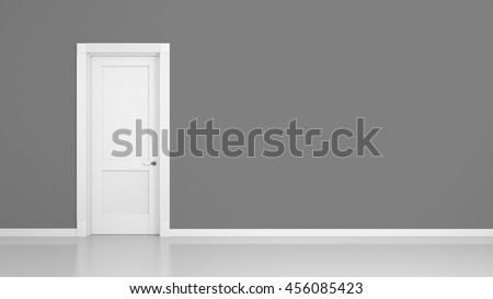 3D render of a grey wall and a door in an empty flat with space for your content - stock photo