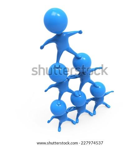3d render of a group of little blue men forming a human pyramid - stock photo